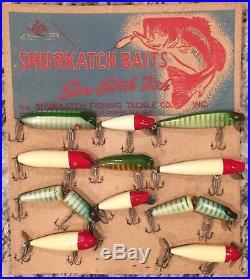 Vintage Antique Wood Lure Store Display Shurkatch Nos