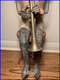 Vintage Automaton Store Display Man Playing Bugle
