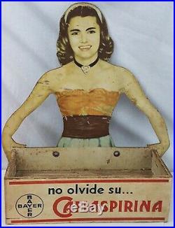 Vintage BAYER Aspirin Country General Store Window Display Sign Rare Original