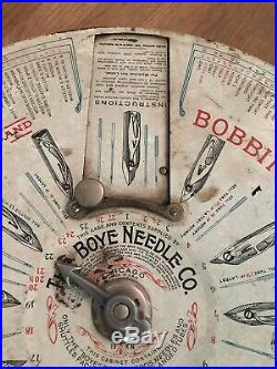 Vintage BOYE NEEDLE Co. Store Counter Display Case Shuttles & Bobbins Sewing