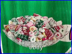 Vintage Brach's Christmas Candy Santa Store Display Sign Banner Chocolate
