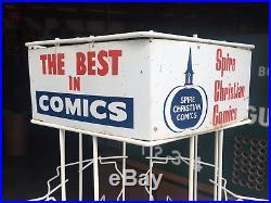 Vintage COMIC BOOK RACK SPINNER Metal Store Display Rare Spire Christian model