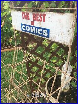 Vintage COMIC BOOK non spinner RACK Metal Store Display BEST Marvel DC Comics