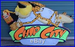 Vintage Cheetoh Frito Chip City Store Display Advertising Sign Chester Cheetah