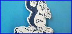 Vintage Chillard Ice Penguin Porcelain Gas General Drug Store Service Sign