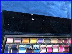 Vintage Clarks Thread Cabinet Black Metal Store Display Cabinet & Wood Spools