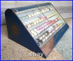 Vintage Coats & Clark Thread Spool Sewing Capitol Counter Store Display Cabinet