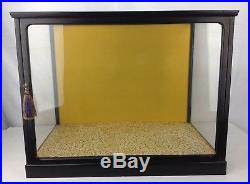 Vintage Countertop General Store Glass Wood Display Case Door Black Showcase Box