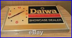 Vintage Daiwa Fishing Reel Dealer Lighted Clock Sign RARE Store Display AS IS