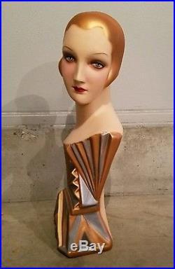 Vintage DecoEyes Mannequin Lady Head Bust Millinery Store Hat Display Fixture