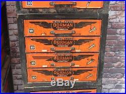 Vintage Dorman 4 Drawer Industrial Metal Advertising Cabinet Garage Display