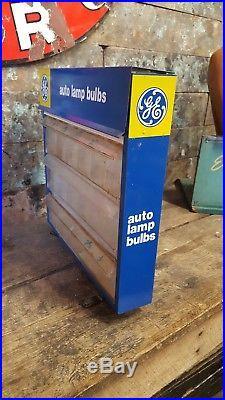 Vintage GE Auto Lamp Bulbs Light Bulb Display Advertising Cabinet Rack 3 Drawers