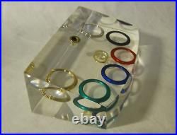 Vintage Gucci Jewelry Pen Rest Store Display Of Watch Bezel In Lucite Gg Embelm