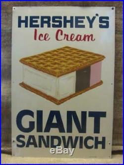 Vintage Hershey's Ice Cream Sandwich Sign Antique Dairy Cone Sundae 10023