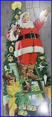 Vintage Huge Die cut litho cardboard Coca-Cola Store Display Santa 60