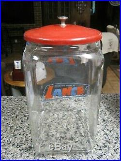 Vintage Large 13 Glass Lance Store Display Jar With Metal Lid B2471