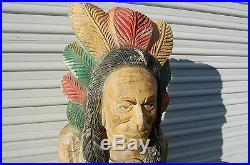 Vintage Large Carve Wood & Chalkware Indian Head Bust Cigar Store Display 27 T