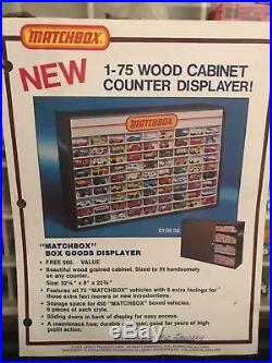 Vintage Matchbox Store Display Case with 81 Transitional cars & Advertisement