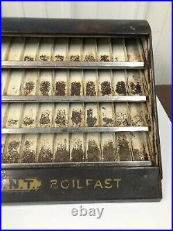 Vintage Metal CLARK'S O. N. T. BOILFAST Thread Store Display CABINET / CASE