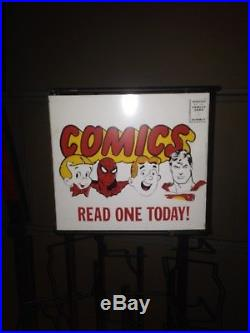 Vintage Metal Comic Book Spinner Display Rack Merry Go Round Spiderman Superman