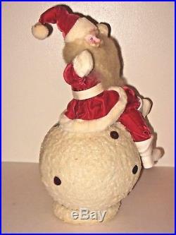 Vintage Mid Century Harold Gale Christmas Store Display Velvet Santa on Snowball