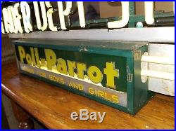 Vintage Neon Art Deco Poll- Parrot Leader Department Store Advertising Sign