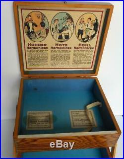 Vintage Oak Accordion Harmonica Merchant Store Display Case Hohner Hotz & Pohl