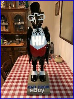 Vintage Old Crow Whiskey 31 Tall Plastic Mascot Store Display Advertising Rare