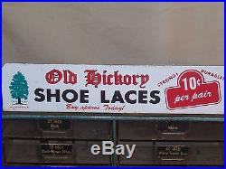 Vintage Old Hickory Shoe Lace Store Countertop Display Cabinet Advertising Sign