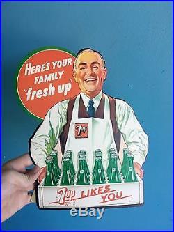 Vintage Original 1948 7-up Advertising Easel Drug Store Display NOS Soda Gas Oil