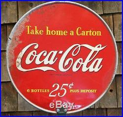 Vintage Original 1950s Coca Cola Soda Bottle Rack Holder With Sign Store Display