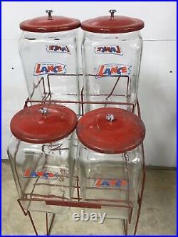 Vintage Original Lance 4 Glass Jar Snacks Rack Country Store Display Rack