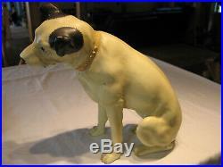 Vintage RCA Victor Victrola Nipper Dog Sculpture Store Display Glass Eye 14 Inch