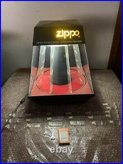 Vintage Rare 18 Zippo Lighter Lighted Rotating Counter Store Display Case-key