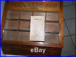 Vintage Rexall Pen Display Advertising Case K E Watson Co Drug Store Orange Ca