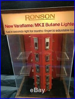 Vintage Ronson Varaflame Butane Lighters Revolving Rotating Display Case Works