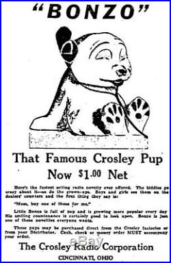 Vintage Small Crosley Pup Radio BONZO Display Statue Hard to Find