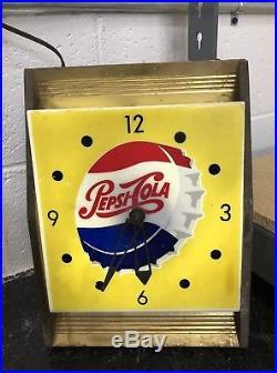 Vintage Soda Original 1950's 60's PEPSI COLA Store Display wall CLOCK Sign Promo