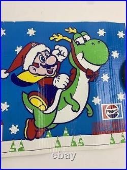 Vintage Super Nintendo Store Display Sign Pepsi Christmas Mario Promo