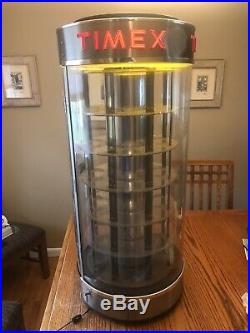 Vintage Timex Display Case Rotating Lighted WORKS
