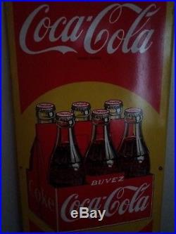Vintage Tôle Publicitaire Plaque Emaillé Coca Cola
