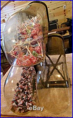 Vintage Very Rare Three Panay Country Store Glass Candy Jars with Original Rack