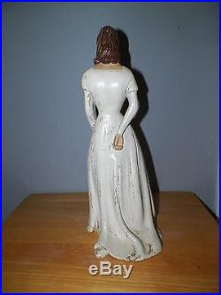 Vintage Wooden Woman Counter Top Display Mannequin With White Dress & Flowers