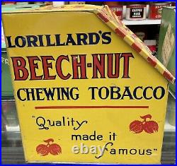 Vintage YELLOW BEECH NUT Chewing Tobacco STORE COUNTER Advertising Display Tin
