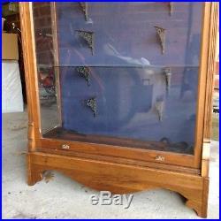 Vintage antique eastlake victorian store display china curio cabinet walnut
