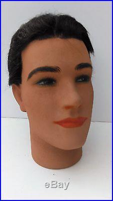 Vintage mannequin head, P. Imans, Paris, plaster, implanted hair in good condition