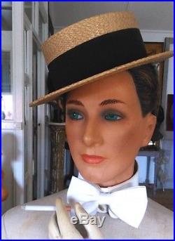 Vintage mannequin head, plaster, glass eyes, implanted hair, store display head
