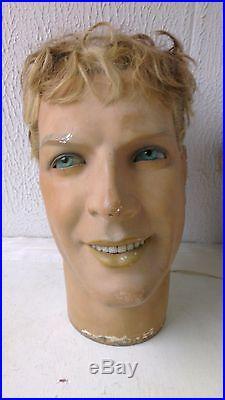 Vintage mannequin head, plaster, glass eyes, real hair, store display head, teeth