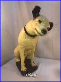 Vtg 1920-30's Chalkware RCA Nipper Terrier Dog Store Display Carnival Prize 14+