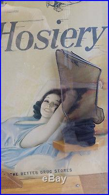 Vtg 1930s AIRMAID HOSIERY Store Advertising Display Cabinet with Amelia Earhart